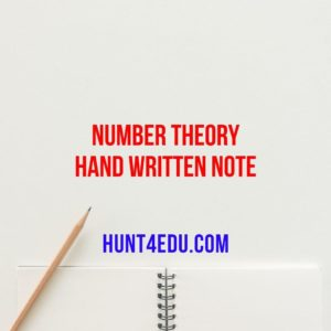 NUMBER THEORY HAND WRITTEN NOTE