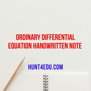 ORDINARY DIFFERENTIAL EQUATION HAND WRITTEN NOTE