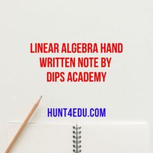 linear algebra hand written note by dips academy
