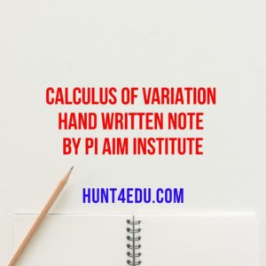 calculus of variation hand written note by pi aim institute