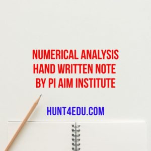 numerical analysis hand written note by pi aim institute