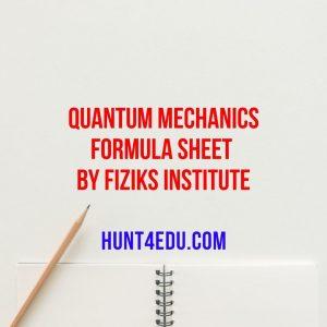 quantum mechanics formula sheet by fiziks institute
