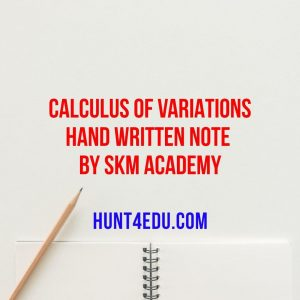 calculus of variations hand written note by skm academy