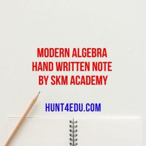 modern algebra hand written note by skm academy