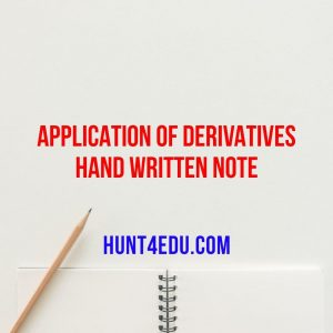 Application of derivatives hand written note