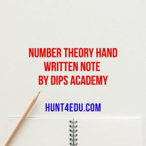 number theory hand written note by dips academy