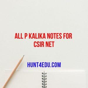 all p kalika notes for csir net