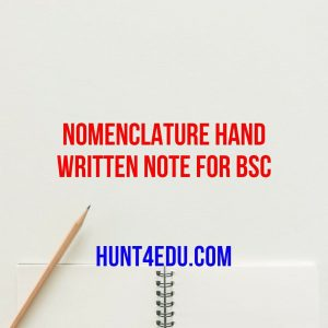 nomenclature hand written note for bsc